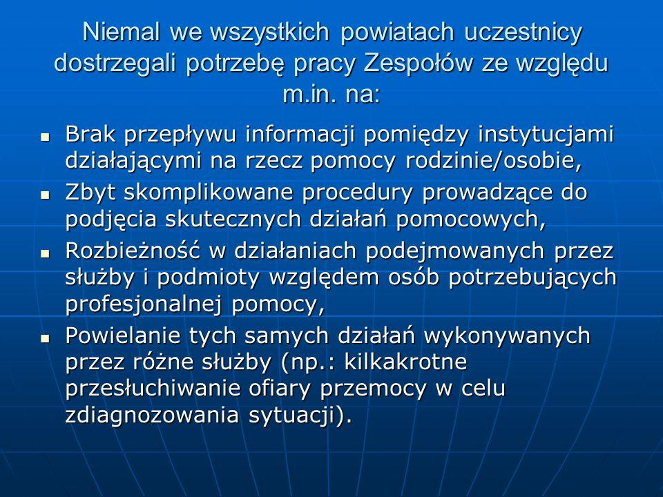 Niemal we wszystkich powiatach uczestnicy dostrzegali potrzebę pracy Zespołów ze względu m.in.