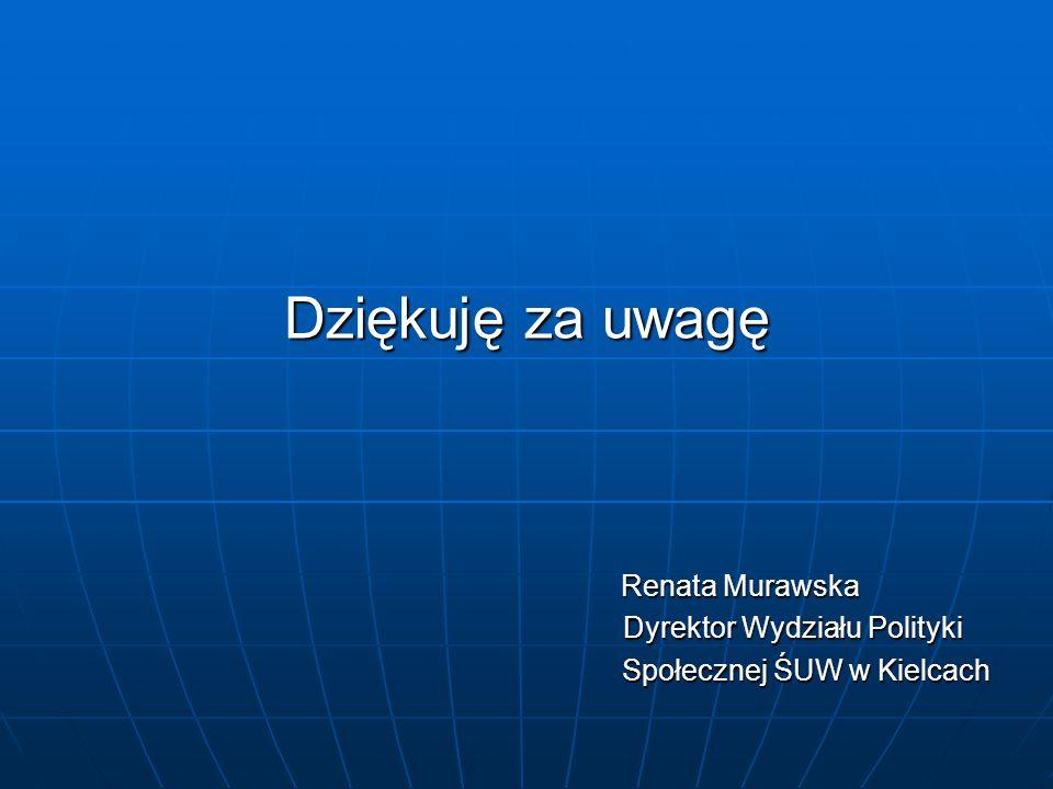 Dziękuję za uwagę Renata Murawska Renata Murawska Dyrektor Wydziału Polityki Dyrektor Wydziału Polityki Społecznej ŚUW w Kielcach Społecznej ŚUW w Kielcach