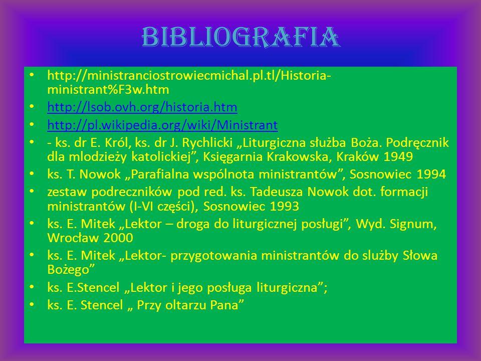 bibliografia http://ministranciostrowiecmichal.pl.tl/Historia- ministrant%F3w.htm http://lsob.ovh.org/historia.htm http://pl.wikipedia.org/wiki/Minist