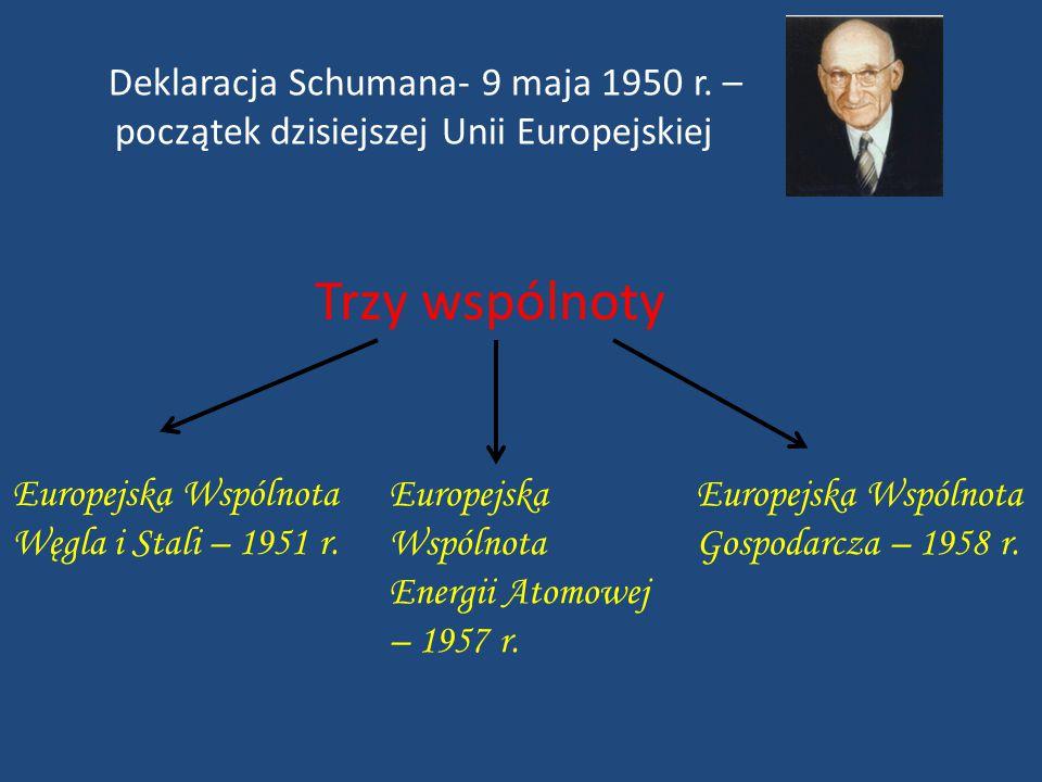Europejska Wspólnota Węgla i Stali – 1951 r. Deklaracja Schumana- 9 maja 1950 r. – początek dzisiejszej Unii Europejskiej Trzy wspólnoty Europejska Ws