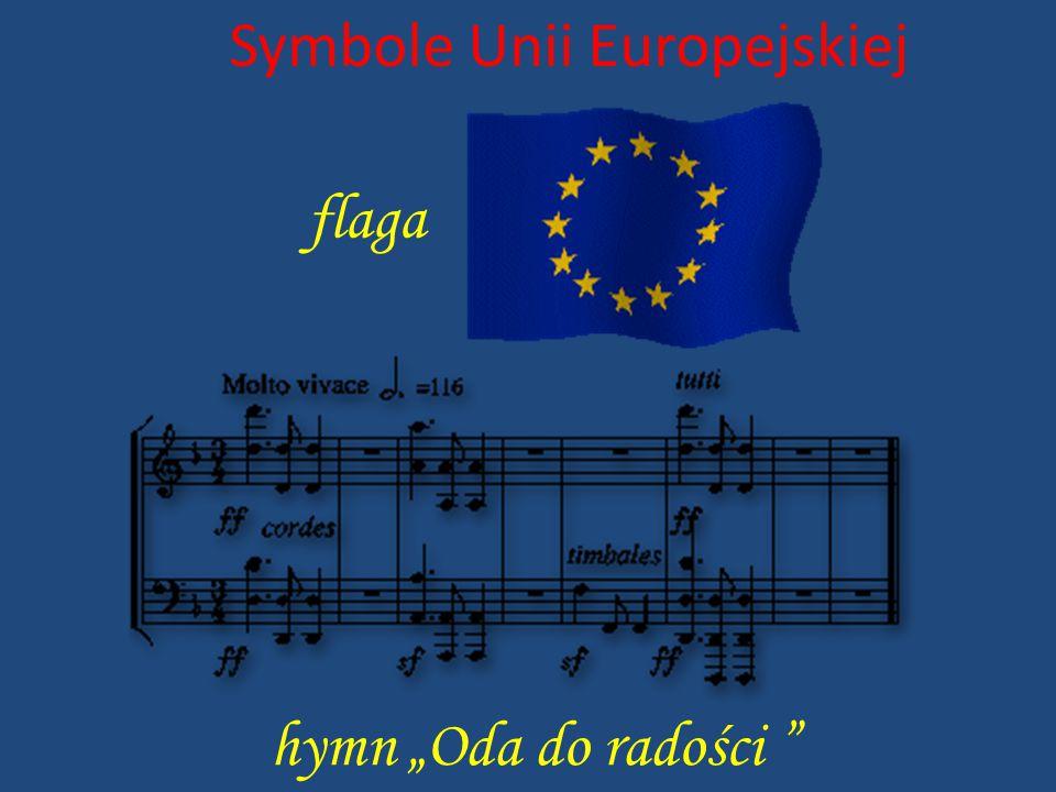 """Symbole Unii Europejskiej flaga hymn """"Oda do radości """""""