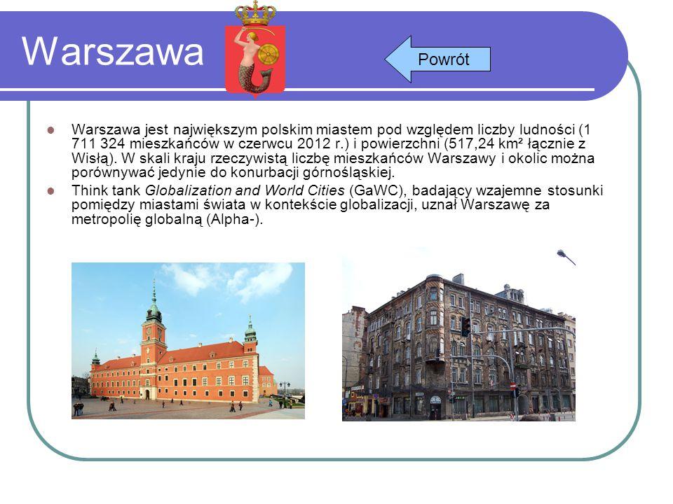 Warszawa Warszawa jest największym polskim miastem pod względem liczby ludności (1 711 324 mieszkańców w czerwcu 2012 r.) i powierzchni (517,24 km² łą