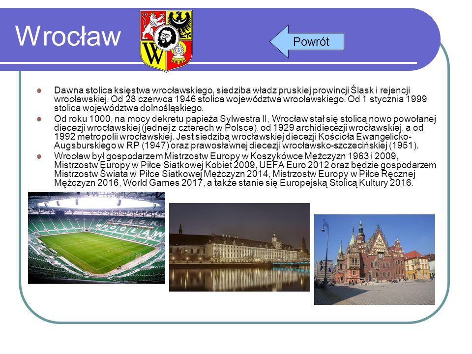 Wrocław Dawna stolica księstwa wrocławskiego, siedziba władz pruskiej prowincji Śląsk i rejencji wrocławskiej. Od 28 czerwca 1946 stolica województwa