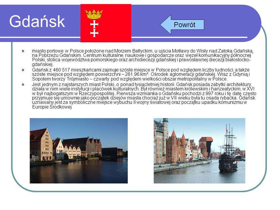 Gdańsk miasto portowe w Polsce położone nad Morzem Bałtyckim, u ujścia Motławy do Wisły nad Zatoką Gdańską, na Pobrzeżu Gdańskim. Centrum kulturalne,