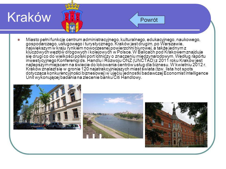 Kraków Miasto pełni funkcję centrum administracyjnego, kulturalnego, edukacyjnego, naukowego, gospodarczego, usługowego i turystycznego. Kraków jest d