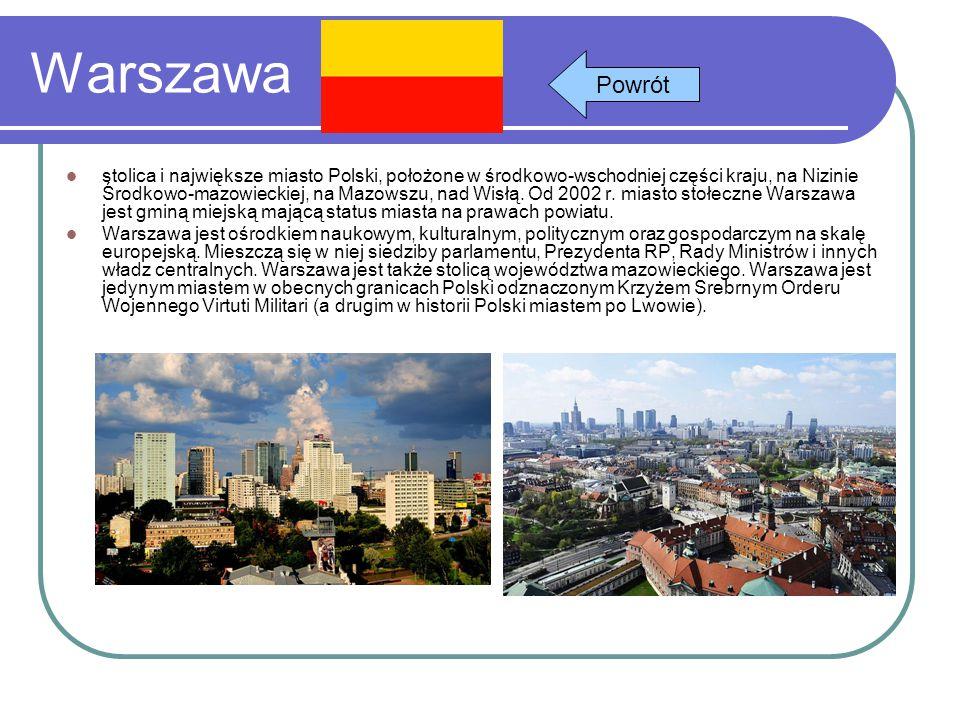Warszawa stolica i największe miasto Polski, położone w środkowo-wschodniej części kraju, na Nizinie Środkowo-mazowieckiej, na Mazowszu, nad Wisłą. Od