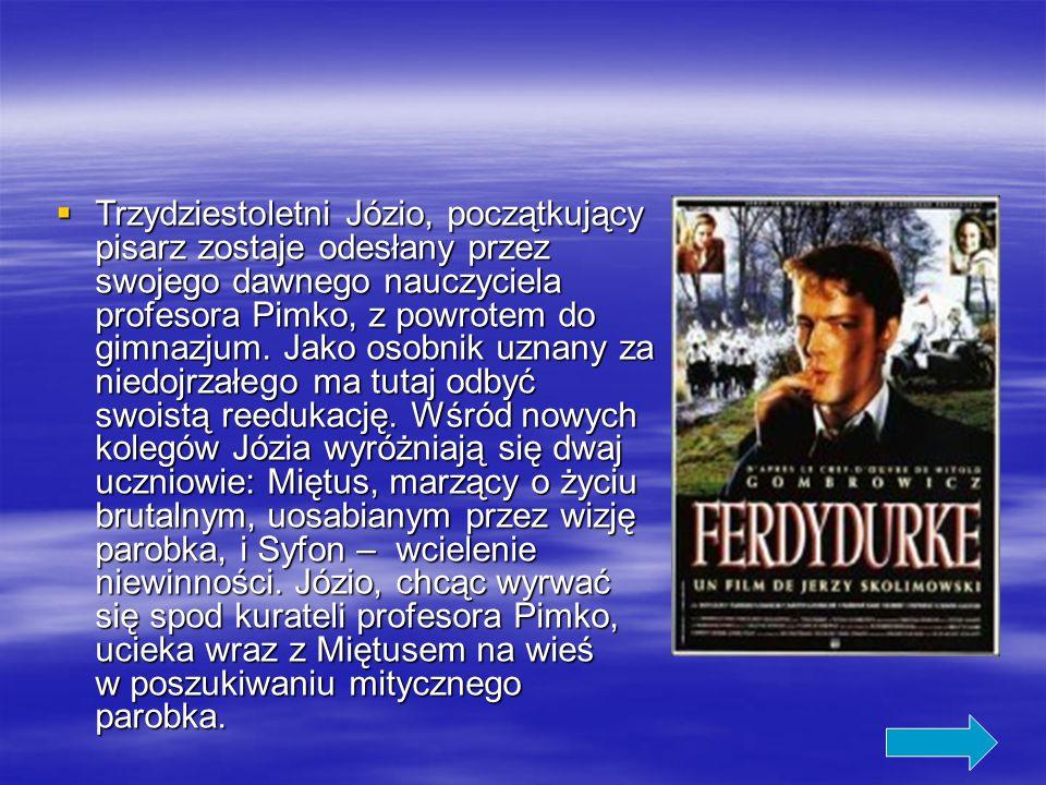  Trzydziestoletni Józio, początkujący pisarz zostaje odesłany przez swojego dawnego nauczyciela profesora Pimko, z powrotem do gimnazjum.