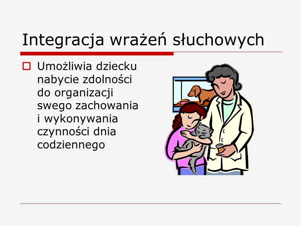 Rozwój analizatora słuchowego  Rozpoczyna się w dwunastym tygodniu ciąży i trwa do ok.10 roku życia  Neuronalna droga słuchowa dojrzewa do 3 roku życia dziecka  Integracja sensoryczna powinna zakończyć się ok.7 roku życia dziecka