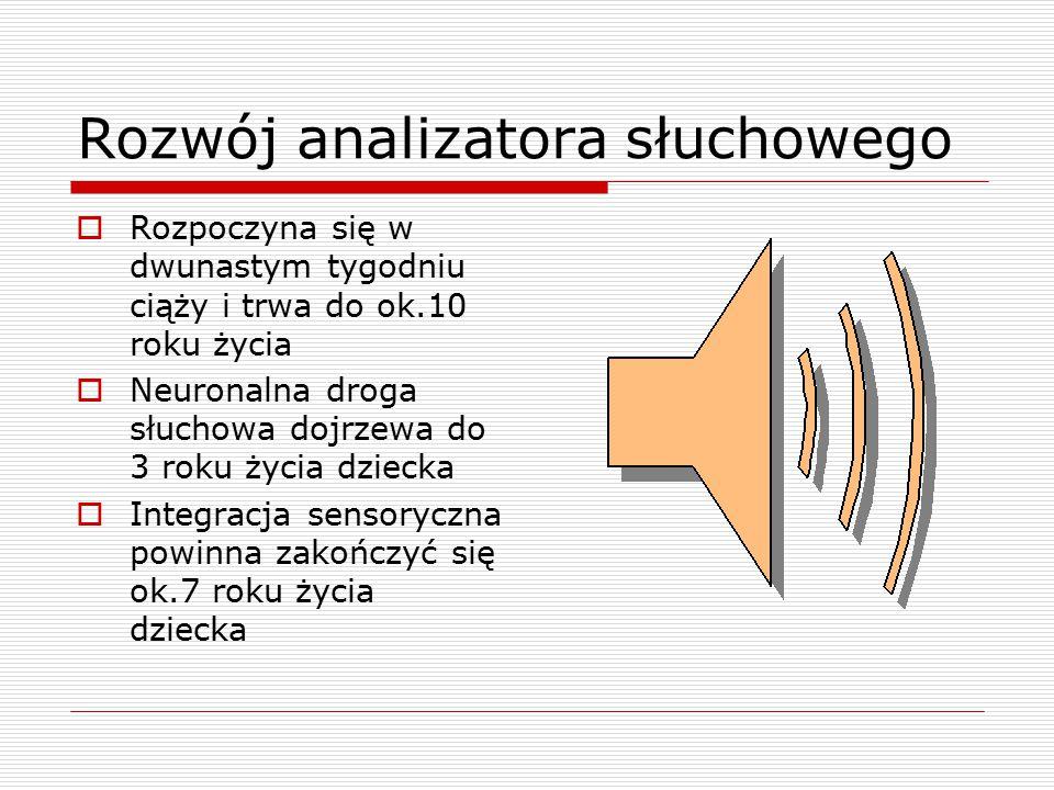 Zaburzenia w przetwarzaniu bodźców słuchowych  Nadreaktywność słuchowa  Podreaktywność słuchowa  Poszukiwanie wrażeń słuchowych  Trudności w dyskryminacji bodźców słuchowych