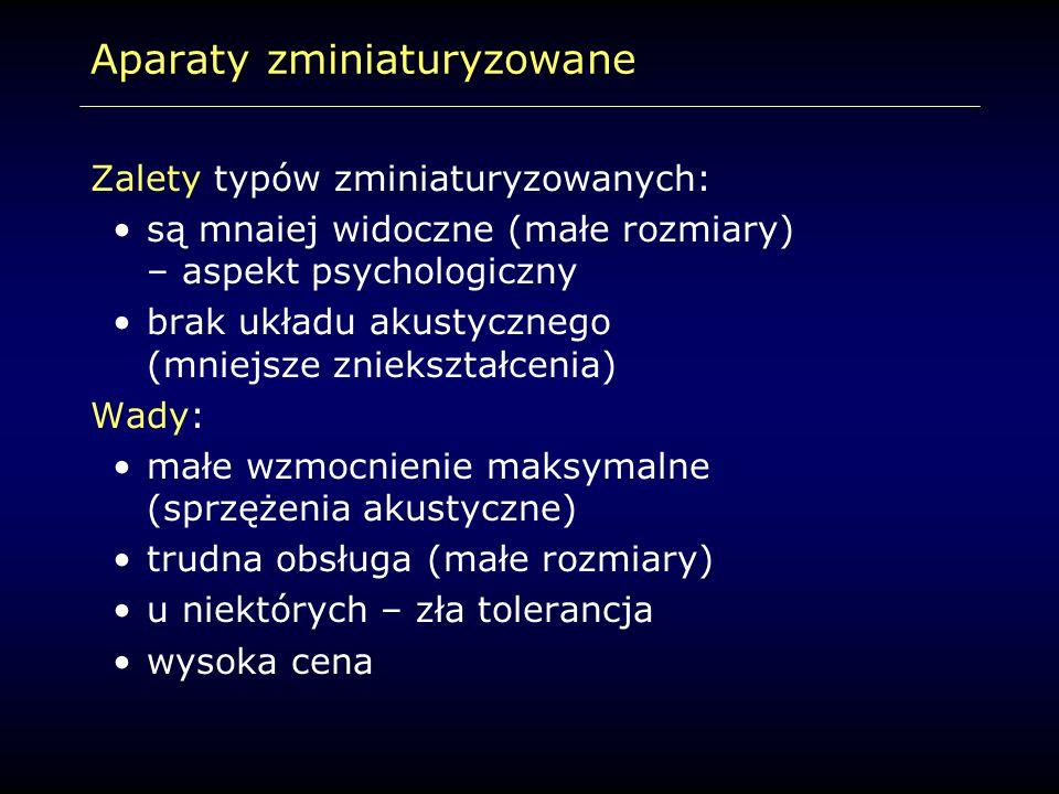 Aparaty zminiaturyzowane Zalety typów zminiaturyzowanych: są mnaiej widoczne (małe rozmiary) – aspekt psychologiczny brak układu akustycznego (mniejsz