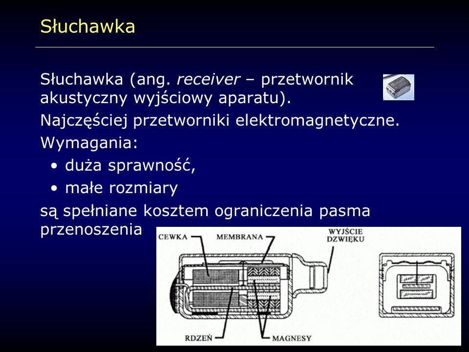Słuchawka Słuchawka (ang. receiver – przetwornik akustyczny wyjściowy aparatu). Najczęściej przetworniki elektromagnetyczne. Wymagania: duża sprawność