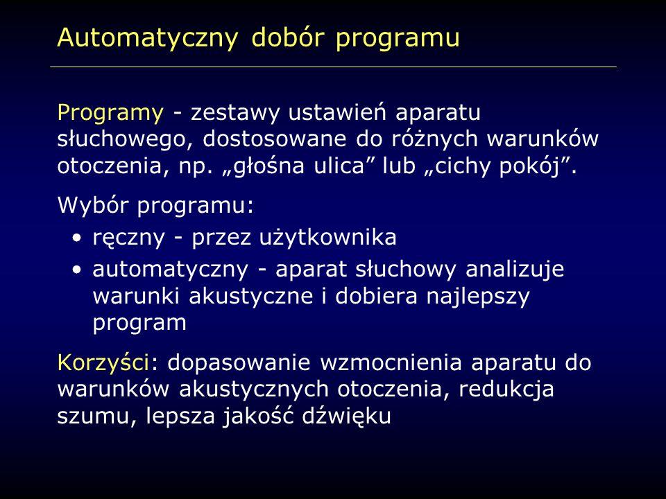 """Automatyczny dobór programu Programy - zestawy ustawień aparatu słuchowego, dostosowane do różnych warunków otoczenia, np. """"głośna ulica"""" lub """"cichy p"""