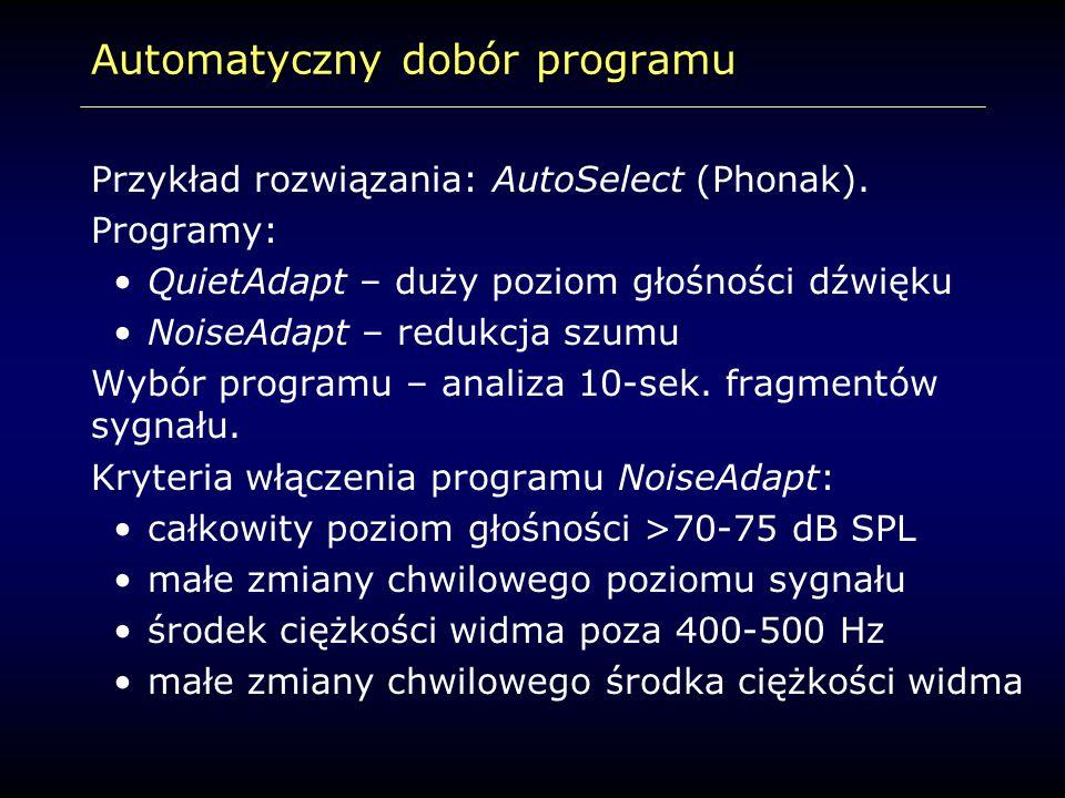 Automatyczny dobór programu Przykład rozwiązania: AutoSelect (Phonak). Programy: QuietAdapt – duży poziom głośności dźwięku NoiseAdapt – redukcja szum