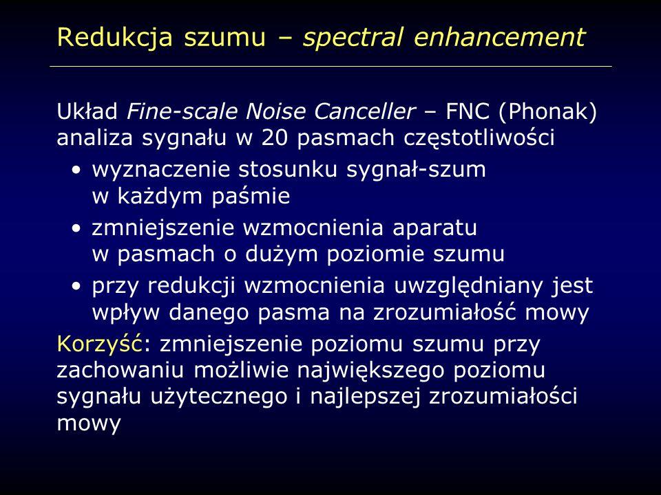 Redukcja szumu – spectral enhancement Układ Fine-scale Noise Canceller – FNC (Phonak) analiza sygnału w 20 pasmach częstotliwości wyznaczenie stosunku