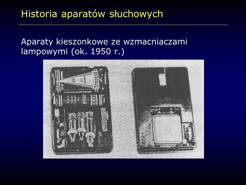 Historia aparatów słuchowych Aparaty kieszonkowe ze wzmacniaczami lampowymi (ok. 1950 r.)