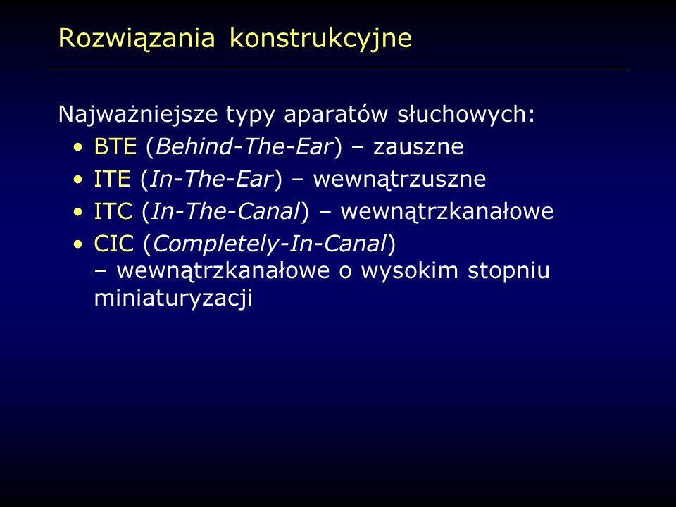 Rozwiązania konstrukcyjne Najważniejsze typy aparatów słuchowych: BTE (Behind-The-Ear) – zauszne ITE (In-The-Ear) – wewnątrzuszne ITC (In-The-Canal) –