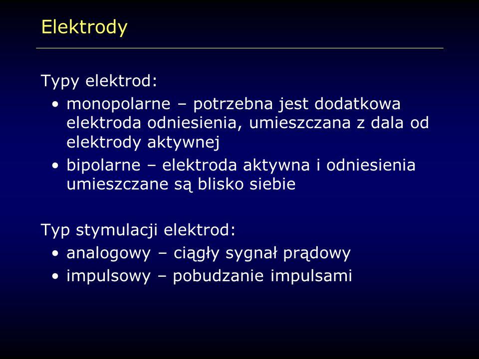Elektrody Typy elektrod: monopolarne – potrzebna jest dodatkowa elektroda odniesienia, umieszczana z dala od elektrody aktywnej bipolarne – elektroda
