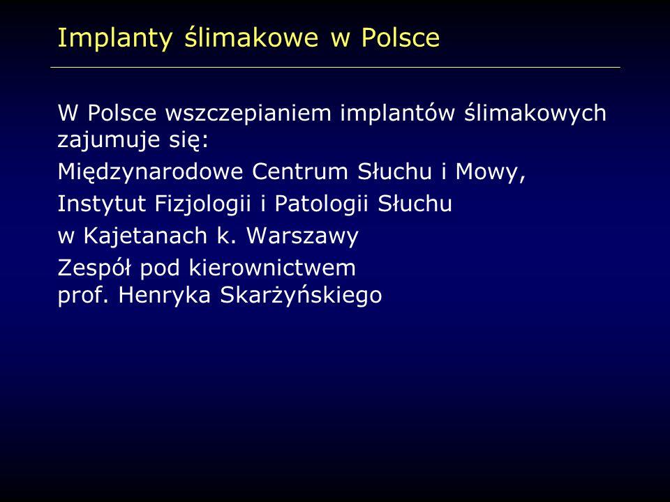 Implanty ślimakowe w Polsce W Polsce wszczepianiem implantów ślimakowych zajumuje się: Międzynarodowe Centrum Słuchu i Mowy, Instytut Fizjologii i Pat