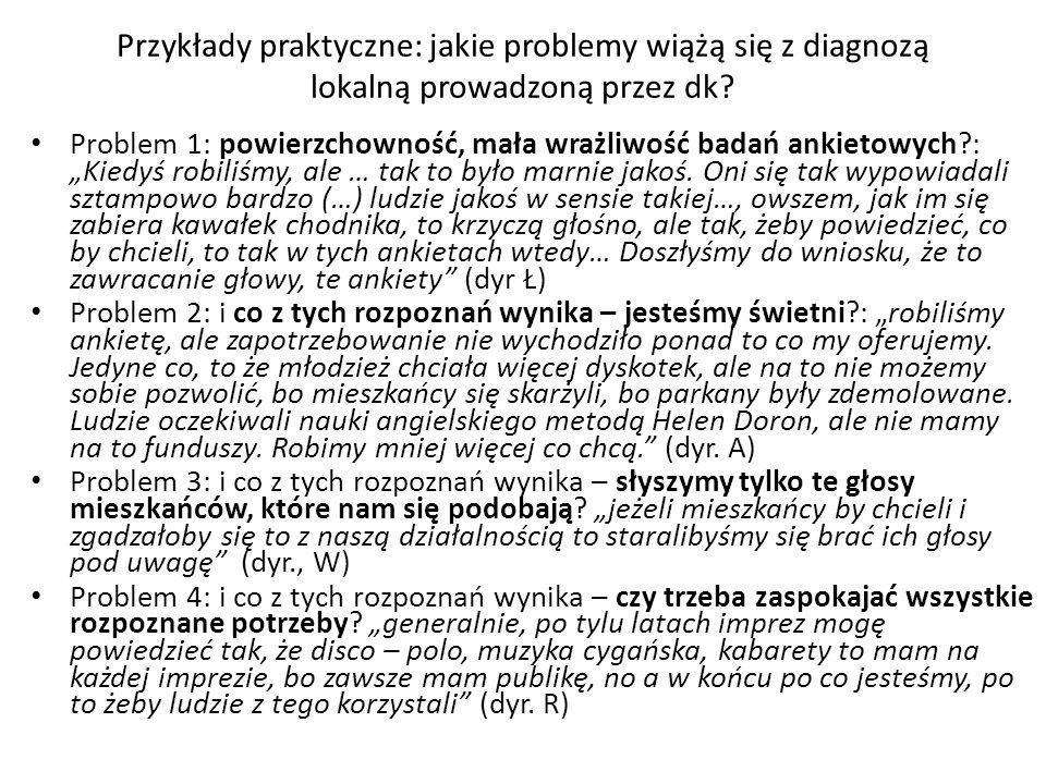 Przykłady praktyczne: jakie problemy wiążą się z diagnozą lokalną prowadzoną przez dk? Problem 1: powierzchowność, mała wrażliwość badań ankietowych?: