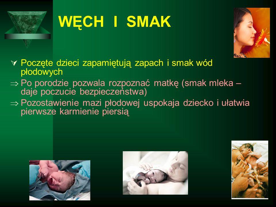 WĘCH I SMAK  Poczęte dzieci zapamiętują zapach i smak wód płodowych  Po porodzie pozwala rozpoznać matkę (smak mleka – daje poczucie bezpieczeństwa)