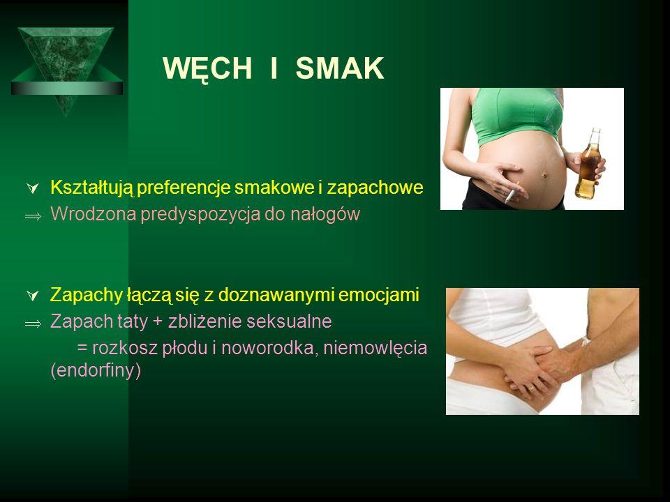  Kształtują preferencje smakowe i zapachowe  Wrodzona predyspozycja do nałogów  Zapachy łączą się z doznawanymi emocjami  Zapach taty + zbliżenie