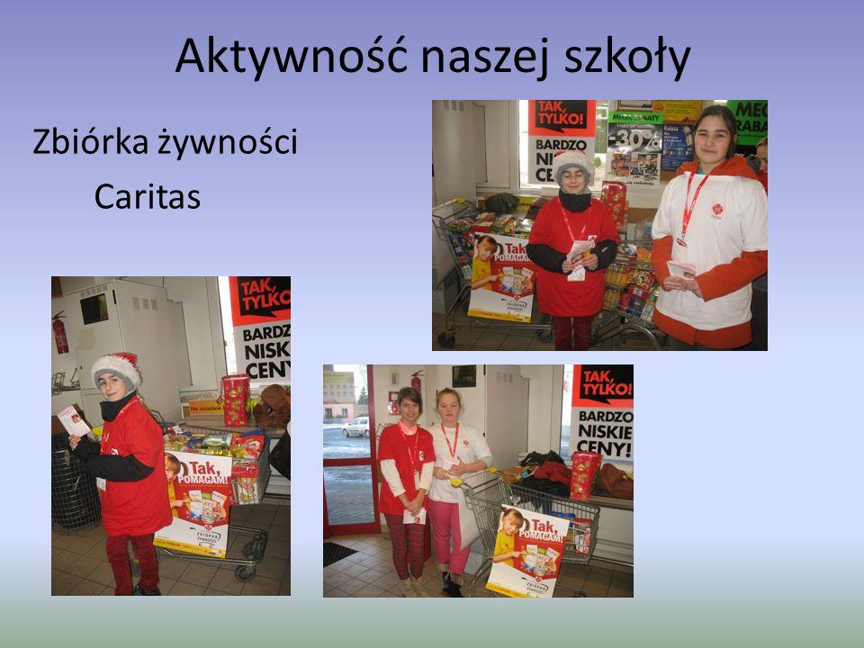 Aktywność naszej szkoły Zbiórka żywności Caritas