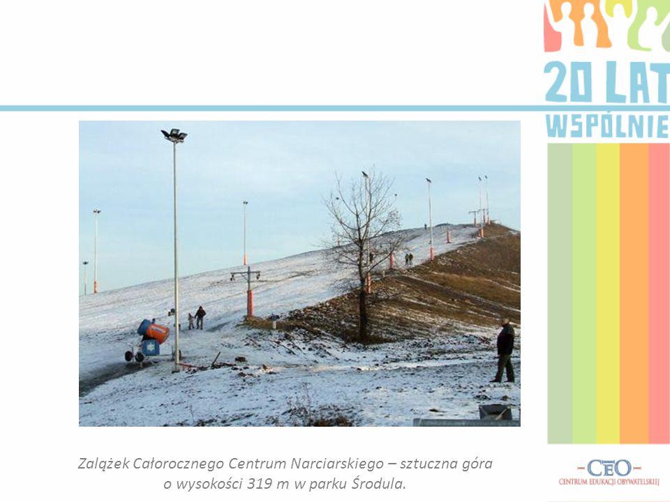 Zalążek Całorocznego Centrum Narciarskiego – sztuczna góra o wysokości 319 m w parku Środula.