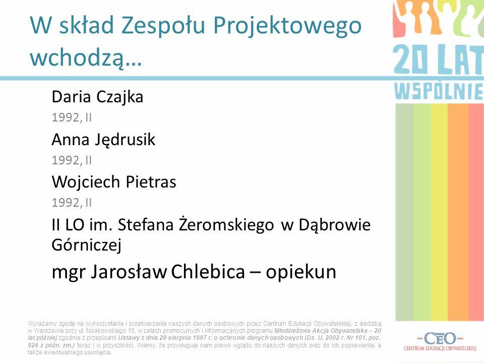 Daria Czajka 1992, II Anna Jędrusik 1992, II Wojciech Pietras 1992, II II LO im. Stefana Żeromskiego w Dąbrowie Górniczej mgr Jarosław Chlebica – opie