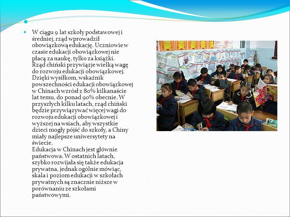 W ciągu 9 lat szkoły podstawowej i średniej, rząd wprowadził obowiązkową edukację.