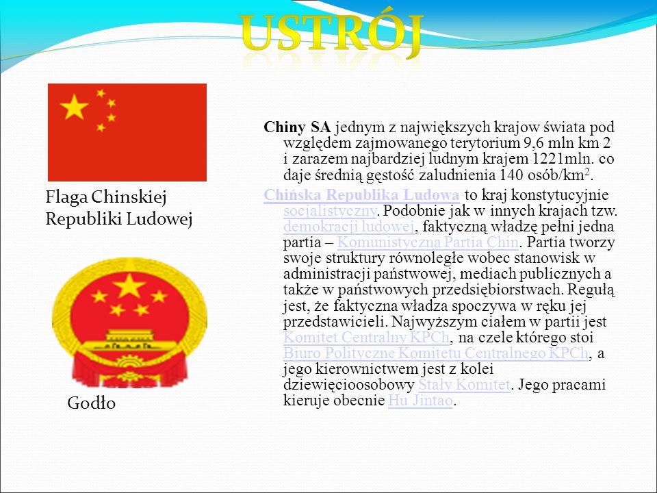 Chiny SA jednym z największych krajow świata pod względem zajmowanego terytorium 9,6 mln km 2 i zarazem najbardziej ludnym krajem 1221mln.