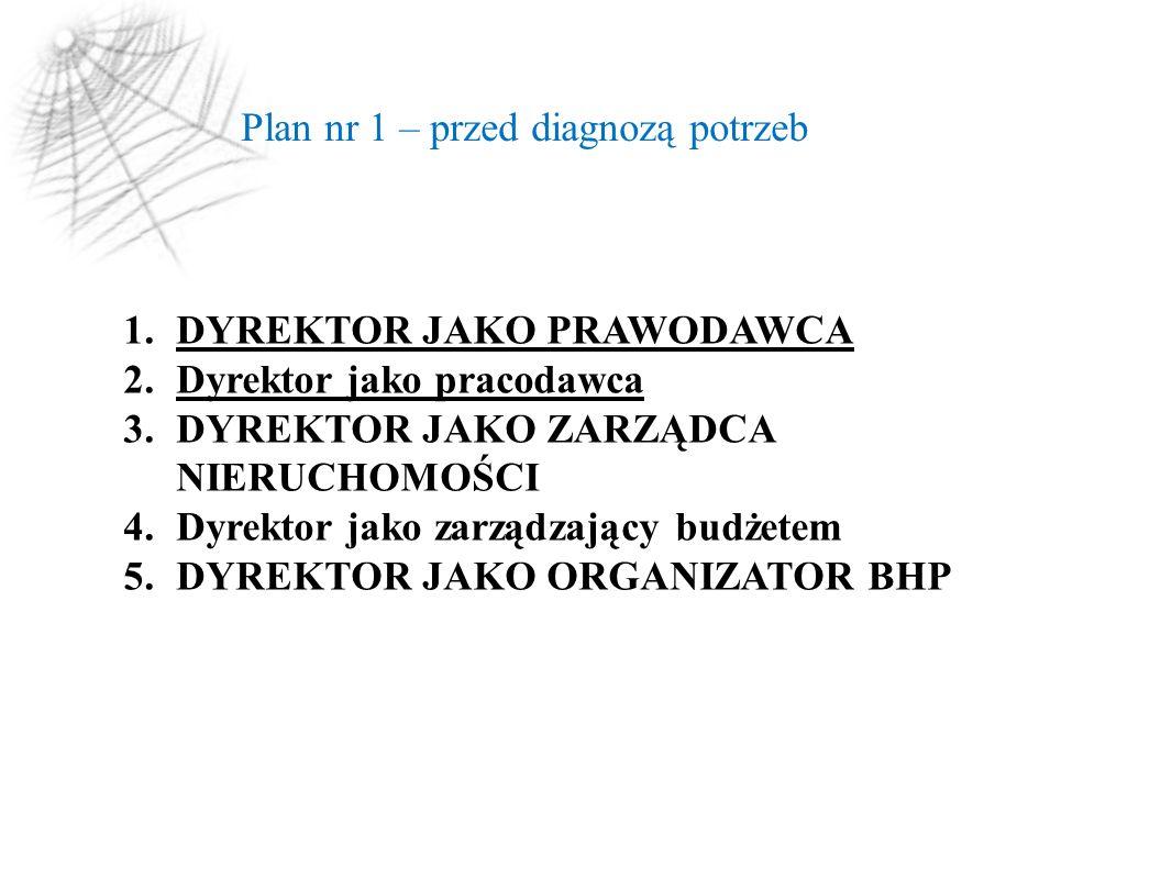 Plan nr 1 – przed diagnozą potrzeb 1.DYREKTOR JAKO PRAWODAWCA 2.Dyrektor jako pracodawca 3.DYREKTOR JAKO ZARZĄDCA NIERUCHOMOŚCI 4.Dyrektor jako zarządzający budżetem 5.DYREKTOR JAKO ORGANIZATOR BHP