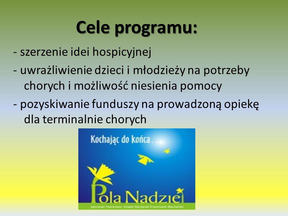 Cele programu: - szerzenie idei hospicyjnej - uwrażliwienie dzieci i młodzieży na potrzeby chorych i możliwość niesienia pomocy - pozyskiwanie funduszy na prowadzoną opiekę dla terminalnie chorych