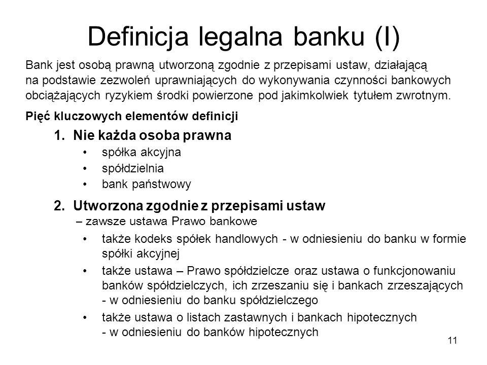 11 Definicja legalna banku (I) Bank jest osobą prawną utworzoną zgodnie z przepisami ustaw, działającą na podstawie zezwoleń uprawniających do wykonyw