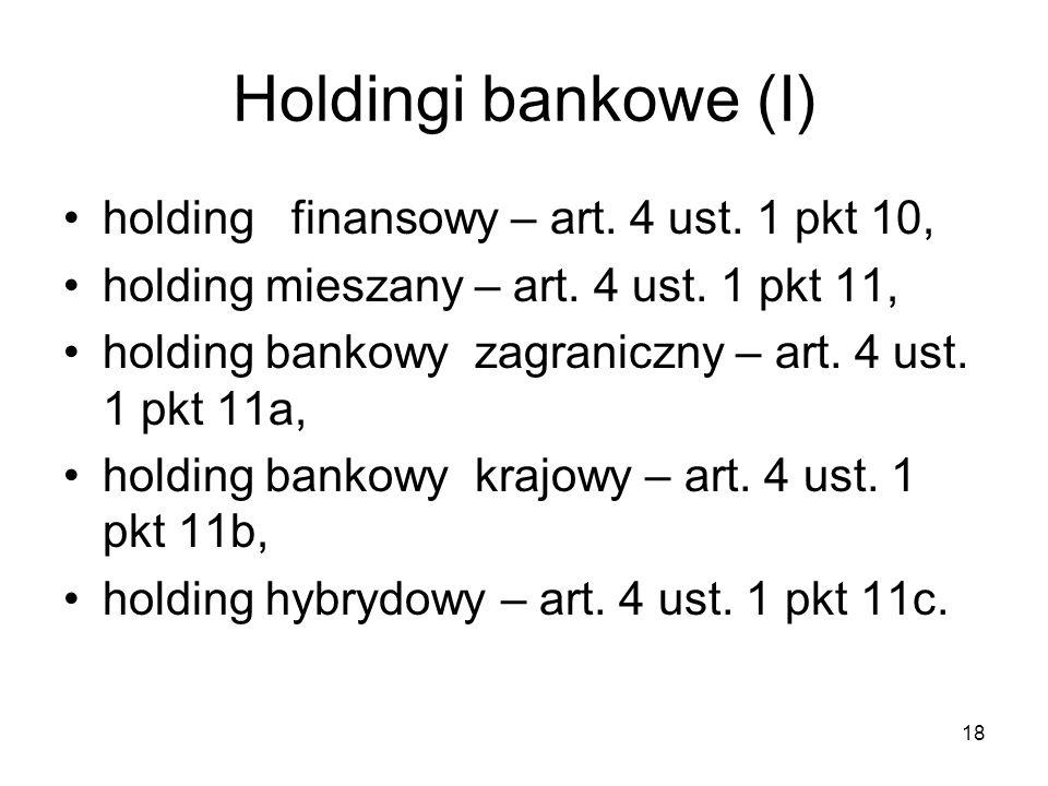 Holdingi bankowe (I) holding finansowy – art. 4 ust. 1 pkt 10, holding mieszany – art. 4 ust. 1 pkt 11, holding bankowy zagraniczny – art. 4 ust. 1 pk