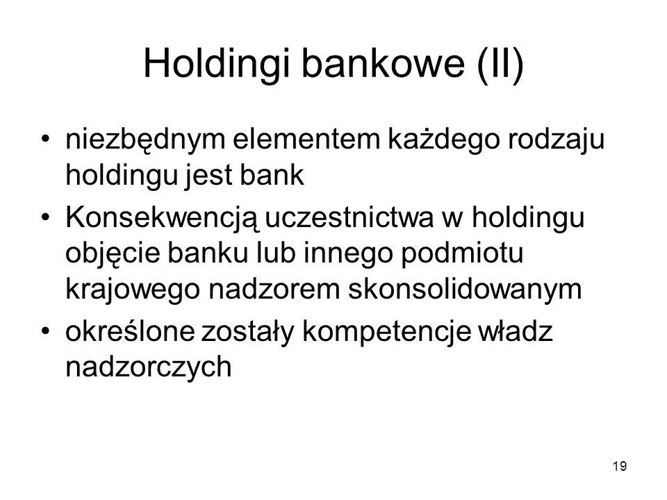 Holdingi bankowe (II) niezbędnym elementem każdego rodzaju holdingu jest bank Konsekwencją uczestnictwa w holdingu objęcie banku lub innego podmiotu k