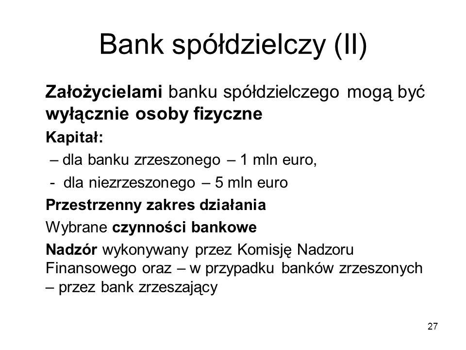 Bank spółdzielczy (II) 27 Założycielami banku spółdzielczego mogą być wyłącznie osoby fizyczne Kapitał: – dla banku zrzeszonego – 1 mln euro, - dla ni