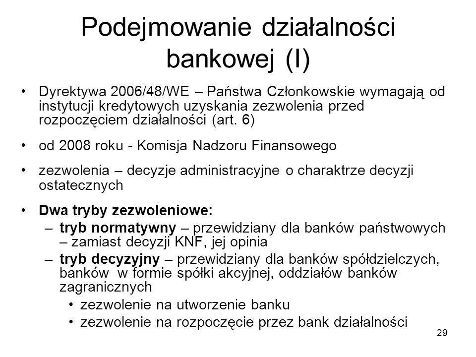 29 Podejmowanie działalności bankowej (I) Dyrektywa 2006/48/WE – Państwa Członkowskie wymagają od instytucji kredytowych uzyskania zezwolenia przed ro