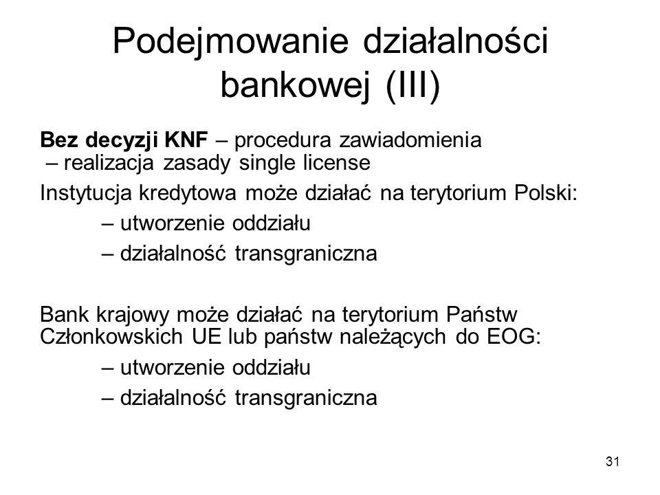 31 Podejmowanie działalności bankowej (III) Bez decyzji KNF – procedura zawiadomienia – realizacja zasady single license Instytucja kredytowa może dzi