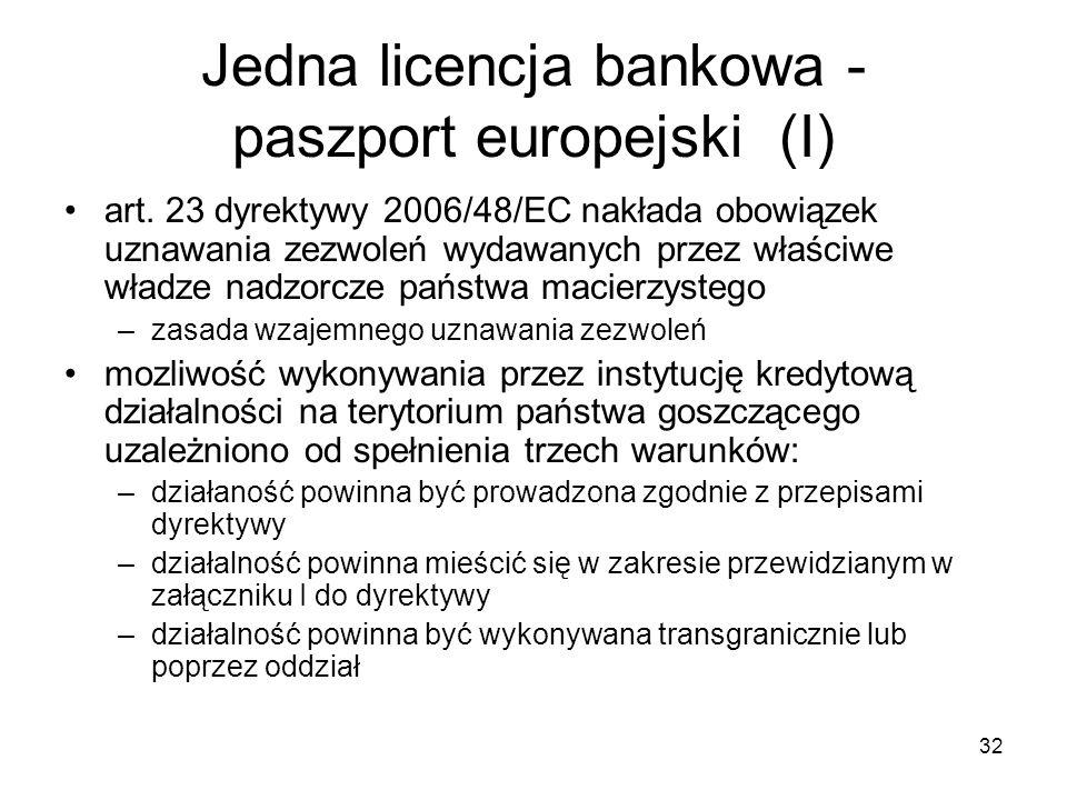32 Jedna licencja bankowa - paszport europejski (I) art. 23 dyrektywy 2006/48/EC nakłada obowiązek uznawania zezwoleń wydawanych przez właściwe władze