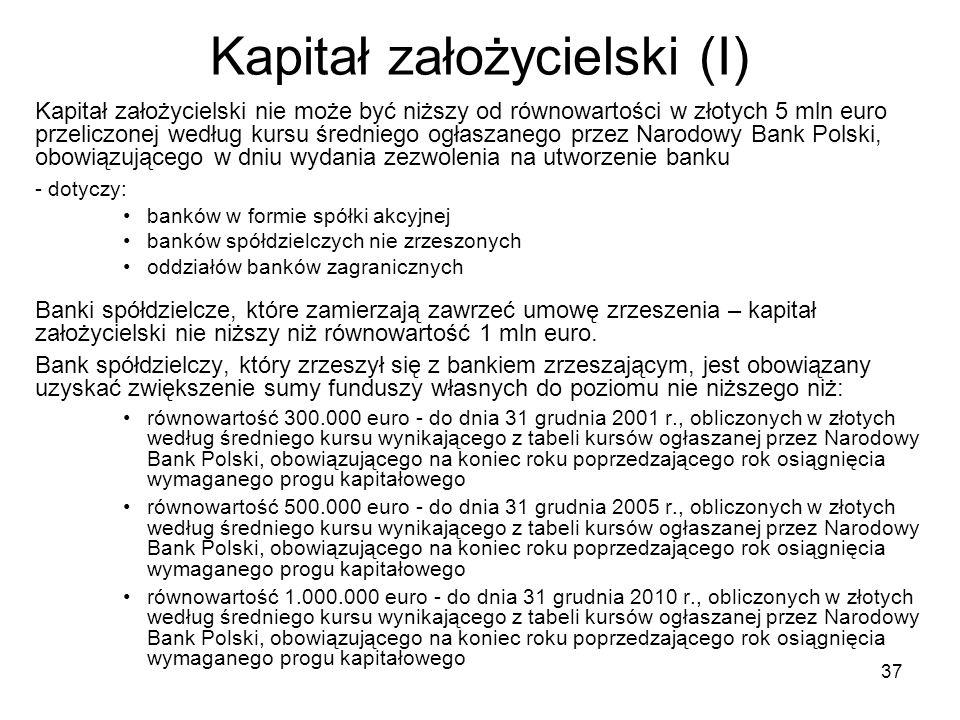 37 Kapitał założycielski (I) Kapitał założycielski nie może być niższy od równowartości w złotych 5 mln euro przeliczonej według kursu średniego ogłas