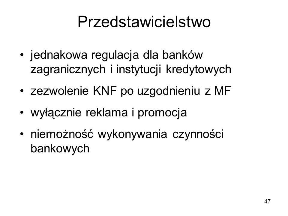 47 Przedstawicielstwo jednakowa regulacja dla banków zagranicznych i instytucji kredytowych zezwolenie KNF po uzgodnieniu z MF wyłącznie reklama i pro