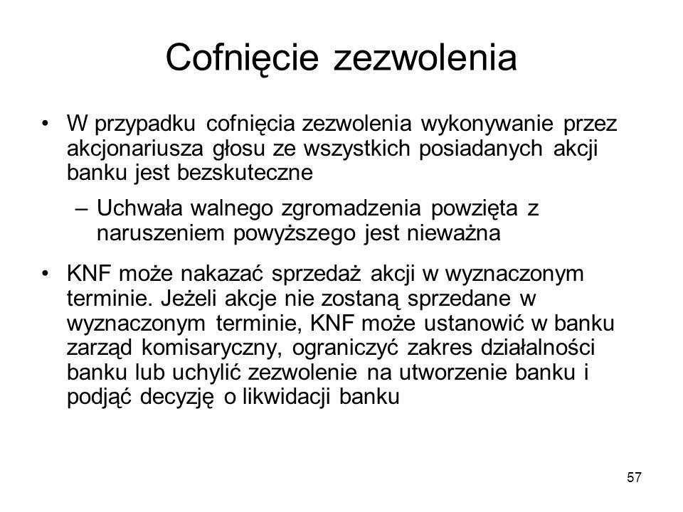 57 Cofnięcie zezwolenia W przypadku cofnięcia zezwolenia wykonywanie przez akcjonariusza głosu ze wszystkich posiadanych akcji banku jest bezskuteczne