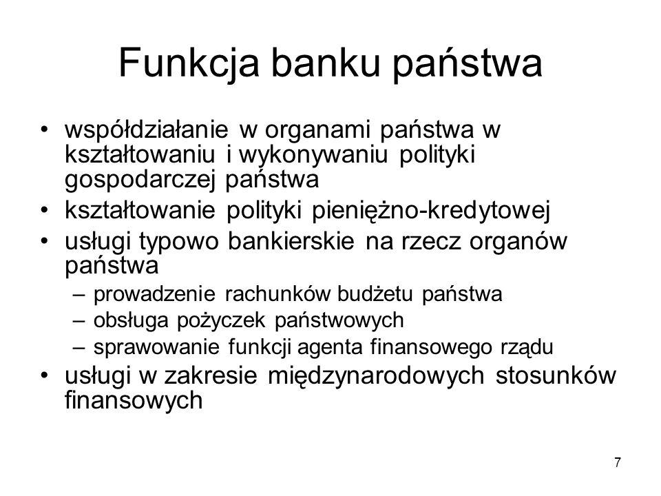 7 Funkcja banku państwa współdziałanie w organami państwa w kształtowaniu i wykonywaniu polityki gospodarczej państwa kształtowanie polityki pieniężno