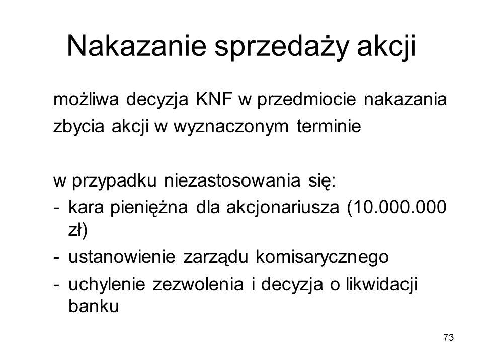 73 Nakazanie sprzedaży akcji możliwa decyzja KNF w przedmiocie nakazania zbycia akcji w wyznaczonym terminie w przypadku niezastosowania się: -kara pi