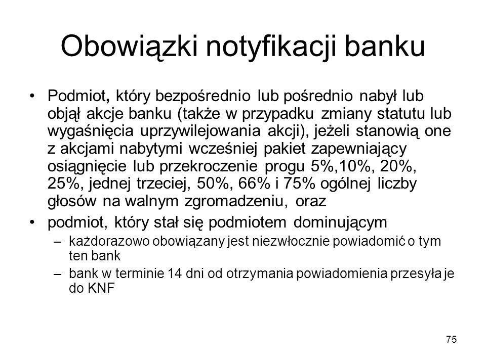 75 Obowiązki notyfikacji banku Podmiot, który bezpośrednio lub pośrednio nabył lub objął akcje banku (także w przypadku zmiany statutu lub wygaśnięcia