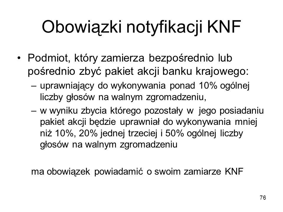76 Obowiązki notyfikacji KNF Podmiot, który zamierza bezpośrednio lub pośrednio zbyć pakiet akcji banku krajowego: –uprawniający do wykonywania ponad