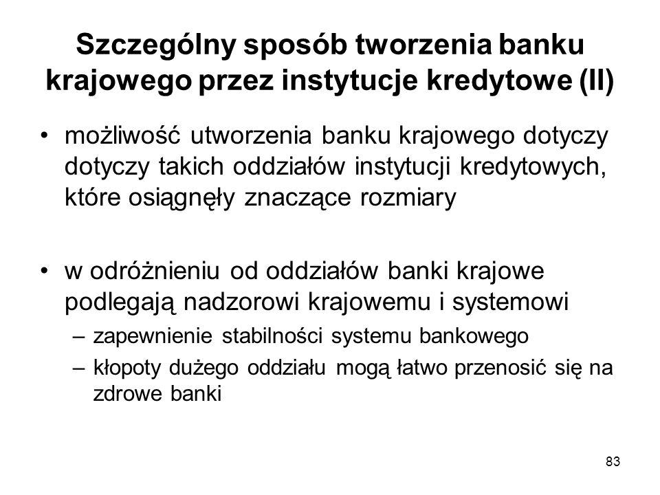 83 Szczególny sposób tworzenia banku krajowego przez instytucje kredytowe (II) możliwość utworzenia banku krajowego dotyczy dotyczy takich oddziałów i