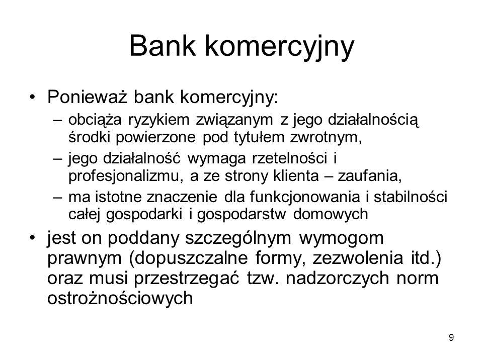 9 Bank komercyjny Ponieważ bank komercyjny: –obciąża ryzykiem związanym z jego działalnością środki powierzone pod tytułem zwrotnym, –jego działalność