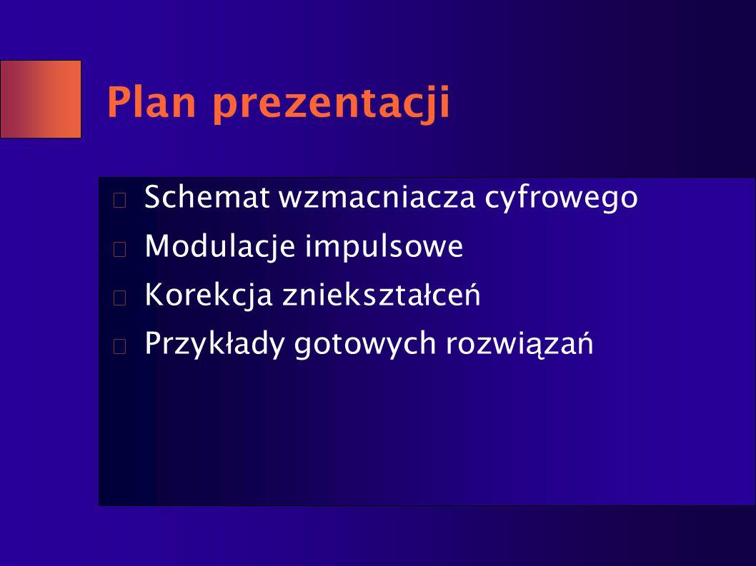Plan prezentacji Schemat wzmacniacza cyfrowego Modulacje impulsowe Korekcja zniekszta ł ce ń Przyk ł ady gotowych rozwi ą za ń