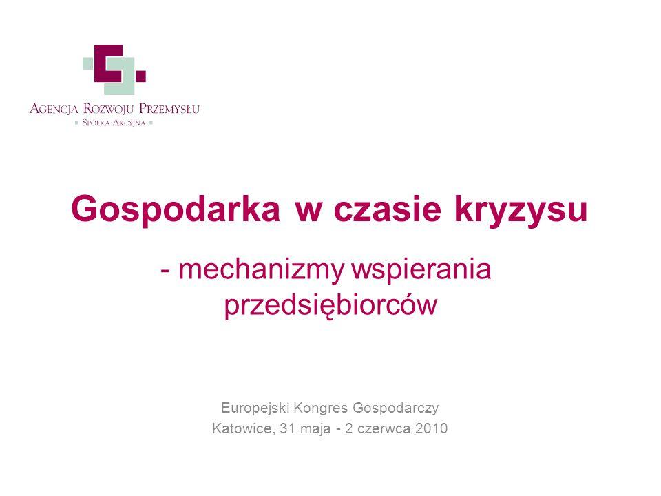 Europejski Kongres Gospodarczy Katowice, 31 maja - 2 czerwca 2010 Gospodarka w czasie kryzysu - mechanizmy wspierania przedsiębiorców